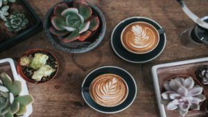 two cups of coffee on table surrounded by small plants