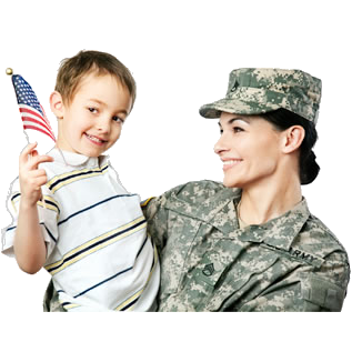 Military Mother with Son Holding Flag