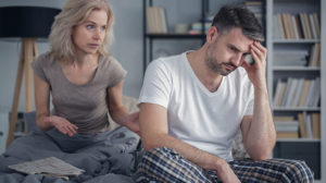 Wife supporting her husband through a work crisis