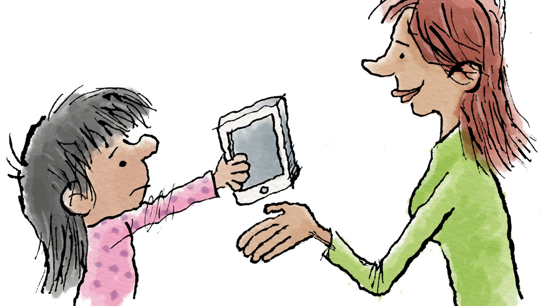 Illustration of a little girl unhappily surrendering a digital tablet to her mother