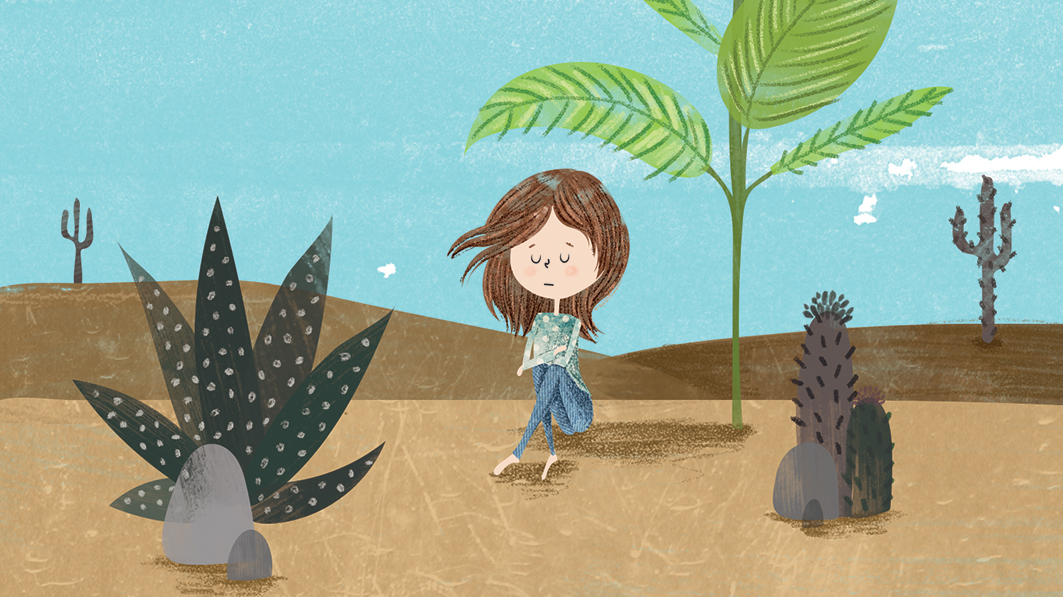 Illustration of a sad-looking girl sitting in a desert place under the shade of a palm tree. Cacti dot the landscape and the sun beats down on it.