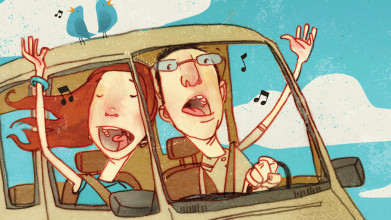Illustration of husband and wife singing joyfully while he drives their car