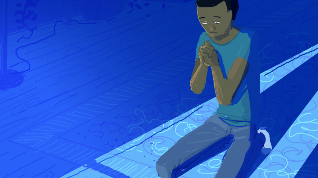 Illustration of downhearted young person kneeling on the ground in a prayerful position