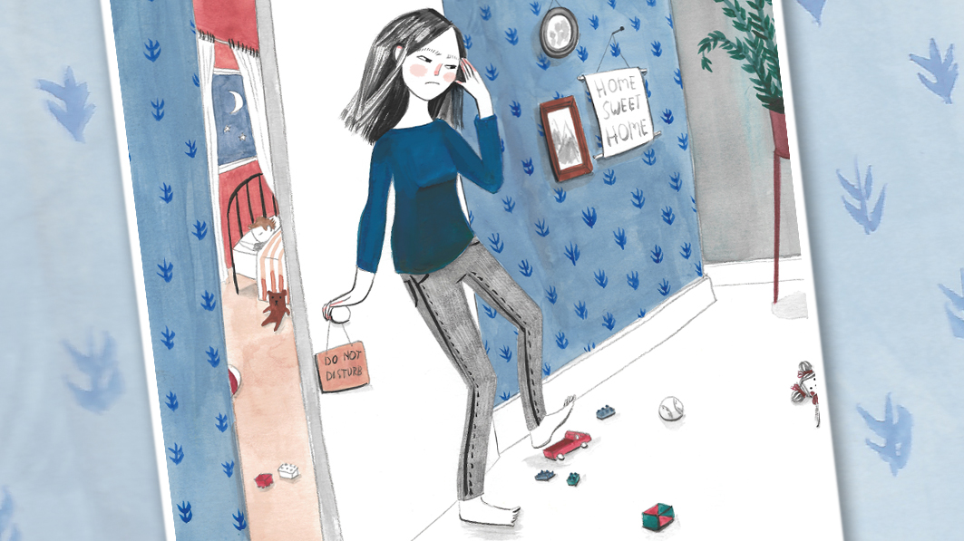 Illustration of a stressed-out mom standing at the door of her young child's bedroom