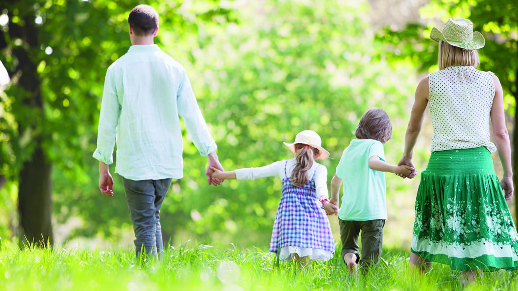 A family holding hands in the woods.