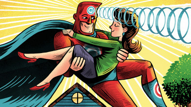 Illustration of a husband dressed as a superhero, carrying his wife. Has the superpower of reading her mind.