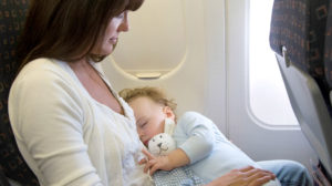 Mom and infant on a plane