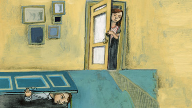 Illustration of a man and a woman each looking through a door they've opened