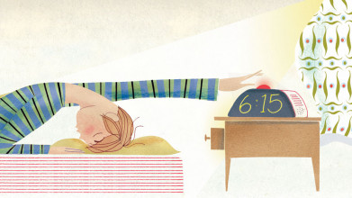 Illustration of a teen hitting the snooze button