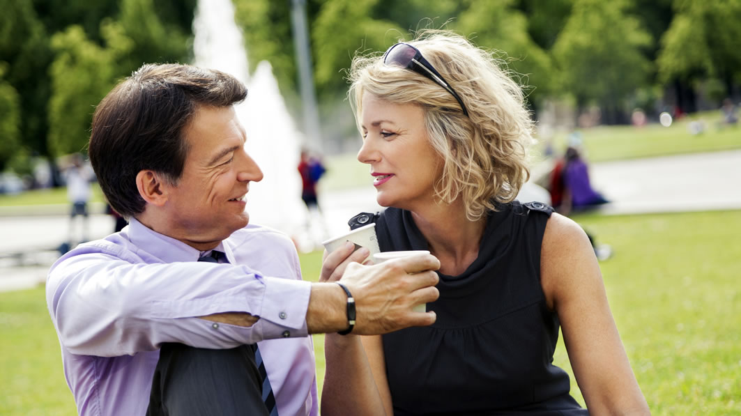 Older couple on a date in a park