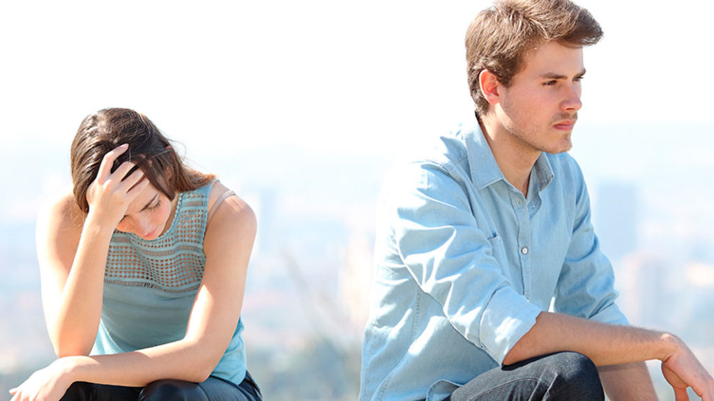 Couple coping with the pain of infidelity in their marriage