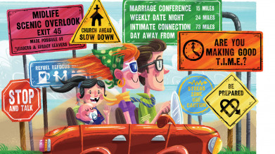 Cartoonish illustration of happy family driving by various signs giving marriage and life direction
