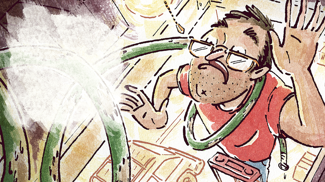 Illustration of man standing on a ladder in his garage, struggling with a water hose wrapped around his neck