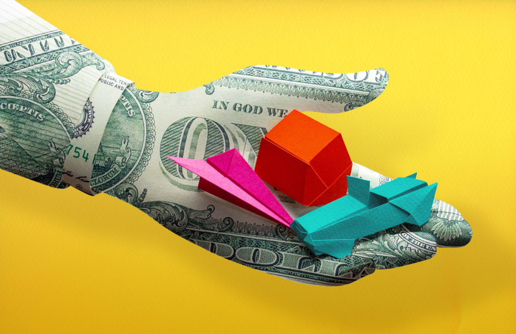 3D paper illustration of money hand offers financial help for car, mortgage and travel, symbolised by origami car, house and plane.