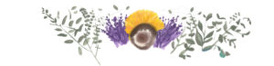 Water color of a sunflower, lavender, and leaves