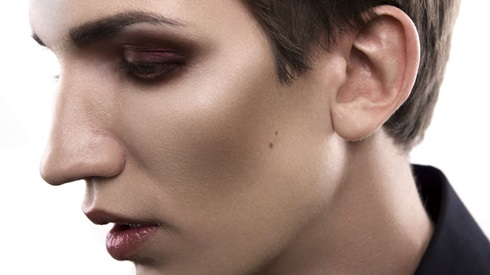 Boy with makeup on