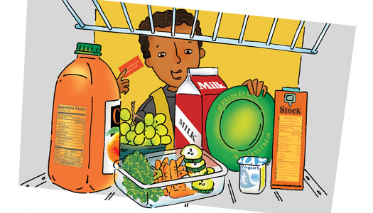 Illustration of boy finding a Frisbee in the refrigerator
