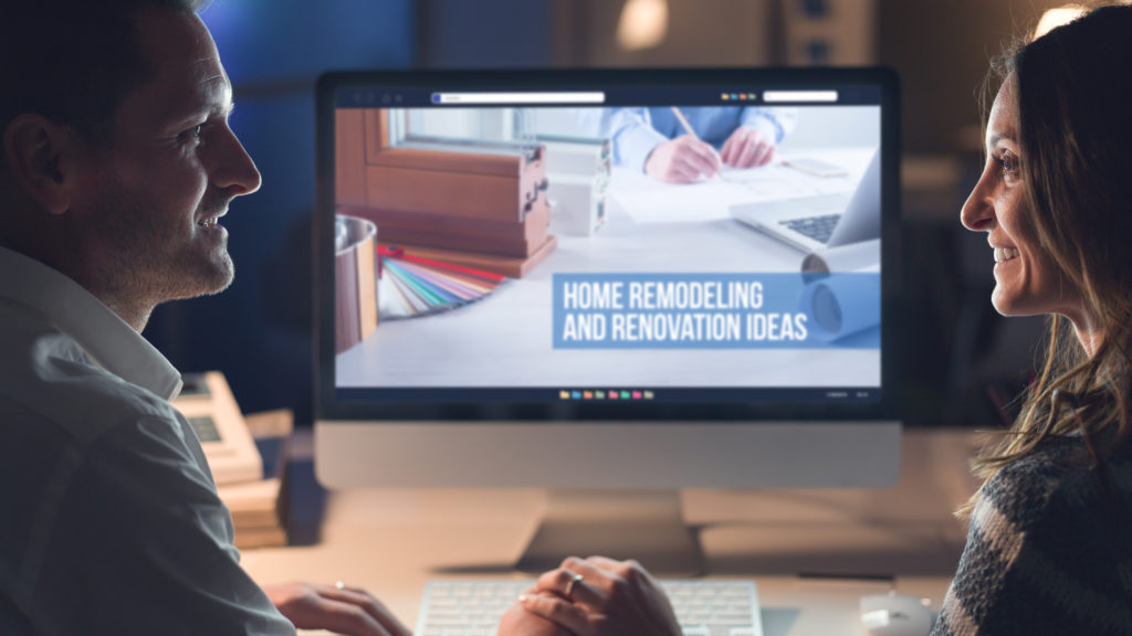 couple looking at home improvement site