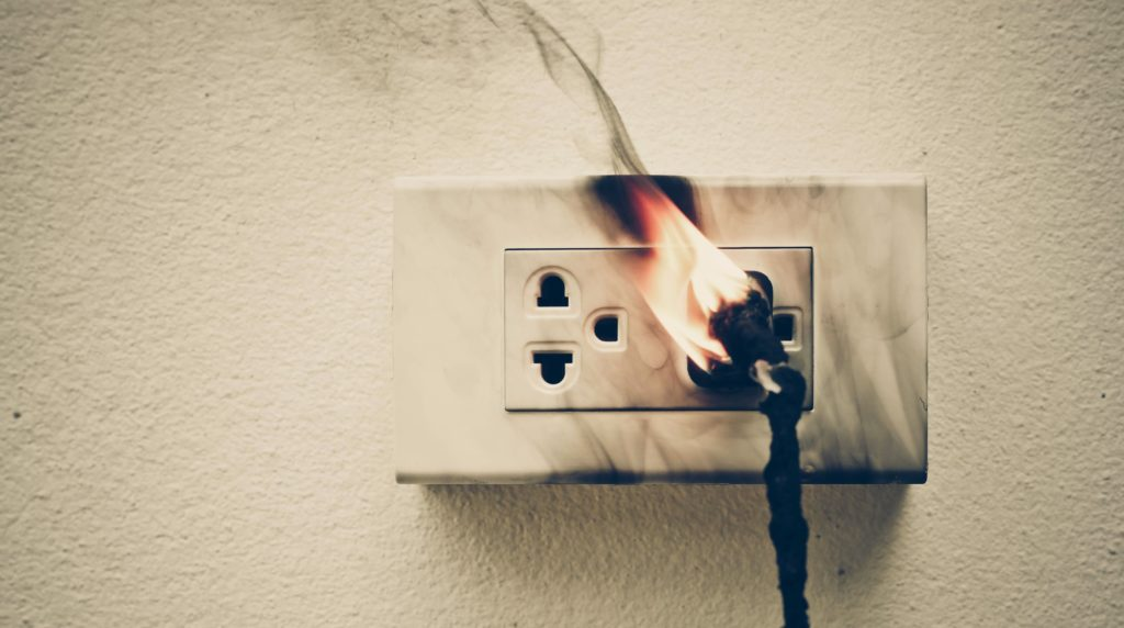 Power outlet on fire