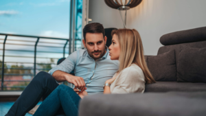 couple talking in apartment