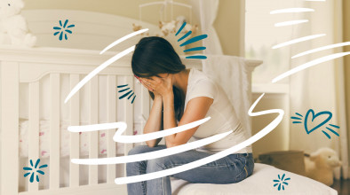 Stylized image of upset mom sitting in her empty baby's room with her head buried in her hands, suggesting the child died