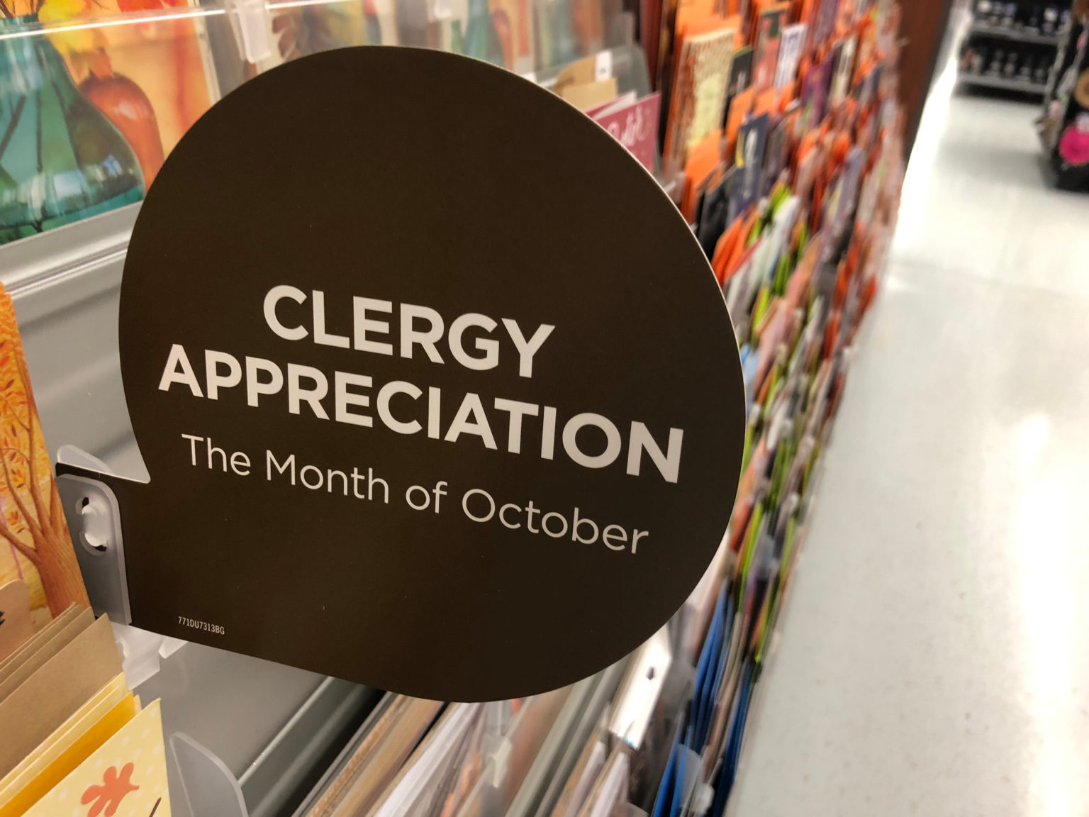 a sign that reads clergy appreciation the month of october
