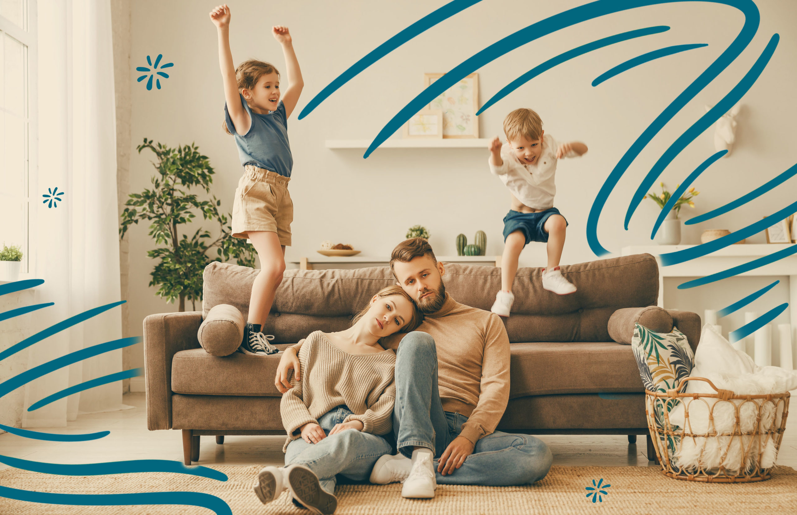 Stressed parents with kids jumping on couch behind them