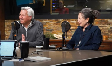 Chuck and Ann Bentley being interviewed in the Focus on the Family broadcast studio