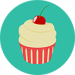 Illustration of a cupcake against a green, plain background